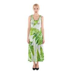 Fern Leaves Sleeveless Maxi Dress