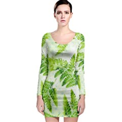 Fern Leaves Long Sleeve Bodycon Dress