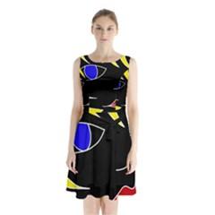 Blond Girl Sleeveless Chiffon Waist Tie Dress