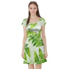 Fern Leaves Short Sleeve Skater Dress