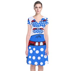 Cooking lobster Short Sleeve Front Wrap Dress