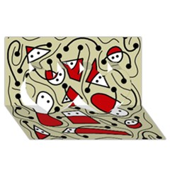 Playful abstraction Twin Hearts 3D Greeting Card (8x4)
