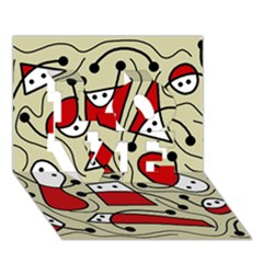 Playful abstraction LOVE 3D Greeting Card (7x5)