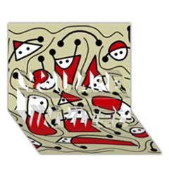 Playful abstraction YOU ARE INVITED 3D Greeting Card (7x5)