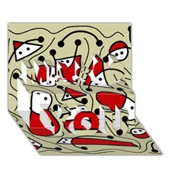 Playful abstraction Miss You 3D Greeting Card (7x5)