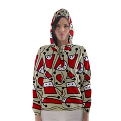 Playful abstraction Hooded Wind Breaker (Women)