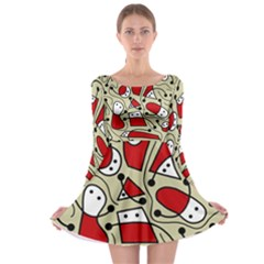 Playful abstraction Long Sleeve Skater Dress