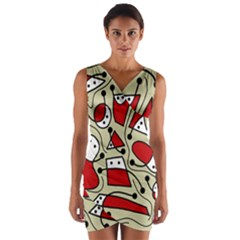 Playful Abstraction Wrap Front Bodycon Dress