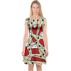 Playful Abstraction Capsleeve Midi Dress