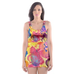 Pop Art Roses Skater Dress Swimsuit