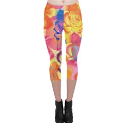 Pop Art Roses Capri Leggings