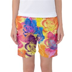 Pop Art Roses Women s Basketball Shorts
