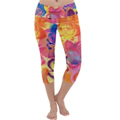 Pop Art Roses Capri Yoga Leggings