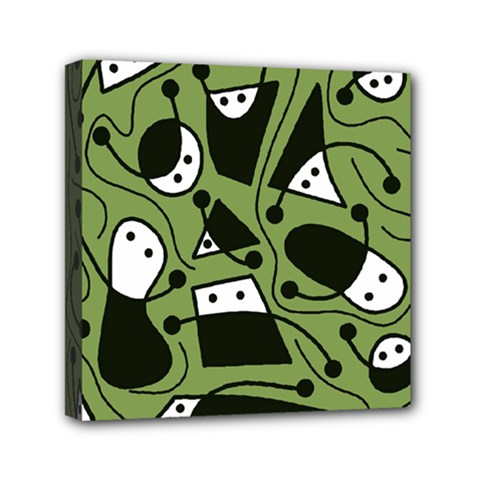 Playful abstract art - green Mini Canvas 6  x 6