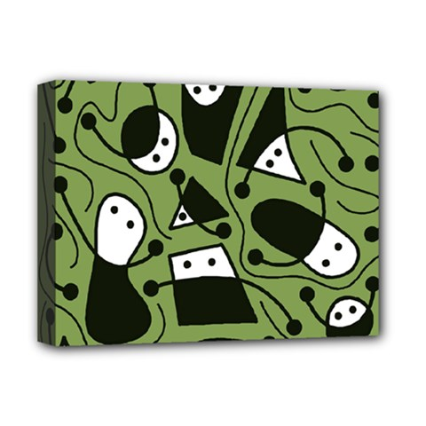 Playful abstract art - green Deluxe Canvas 16  x 12