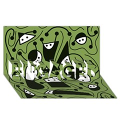 Playful abstract art - green ENGAGED 3D Greeting Card (8x4)