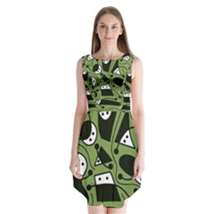 Playful abstract art - green Sleeveless Chiffon Dress