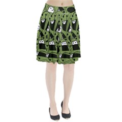 Playful abstract art - green Pleated Skirt