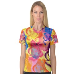 Pop Art Roses Women s V-Neck Sport Mesh Tee