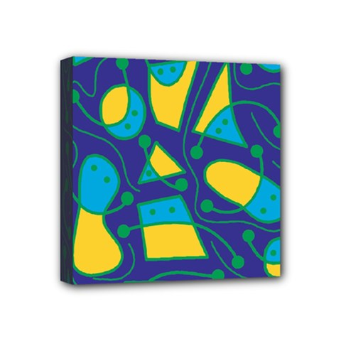 Playful abstract art - blue and yellow Mini Canvas 4  x 4