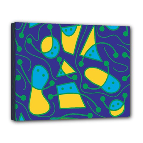 Playful abstract art - blue and yellow Canvas 14  x 11