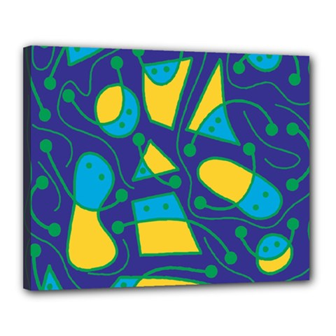 Playful abstract art - blue and yellow Canvas 20  x 16