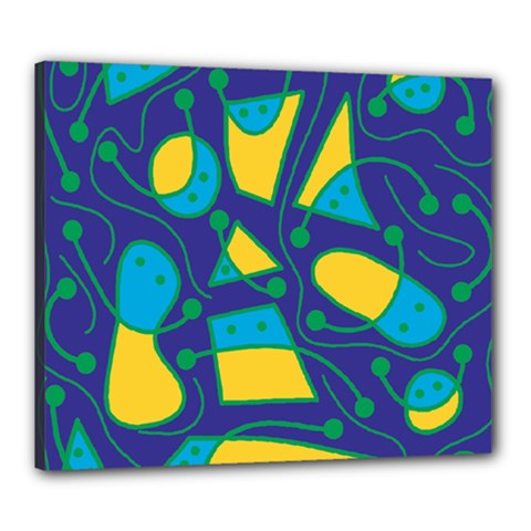 Playful abstract art - blue and yellow Canvas 24  x 20