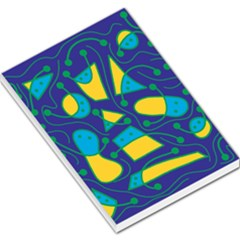 Playful abstract art - blue and yellow Large Memo Pads