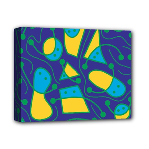 Playful abstract art - blue and yellow Deluxe Canvas 14  x 11