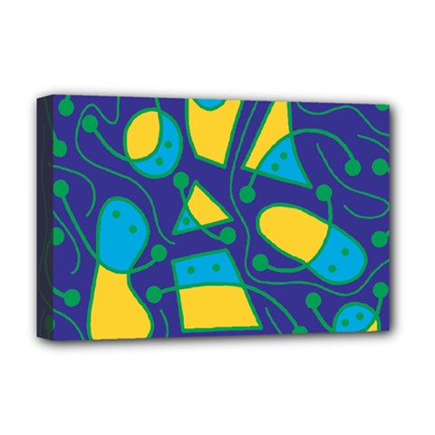 Playful abstract art - blue and yellow Deluxe Canvas 18  x 12