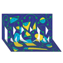 Playful abstract art - blue and yellow MOM 3D Greeting Card (8x4)