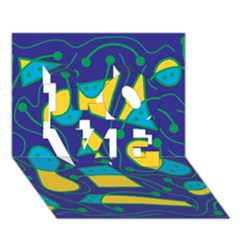 Playful abstract art - blue and yellow LOVE 3D Greeting Card (7x5)