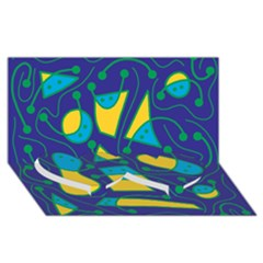 Playful abstract art - blue and yellow Twin Heart Bottom 3D Greeting Card (8x4)
