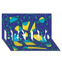 Playful abstract art - blue and yellow BEST BRO 3D Greeting Card (8x4)