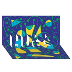 Playful abstract art - blue and yellow HUGS 3D Greeting Card (8x4)