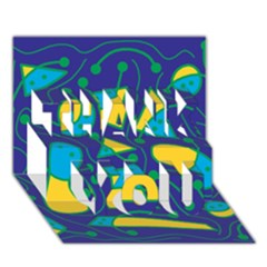 Playful abstract art - blue and yellow THANK YOU 3D Greeting Card (7x5)