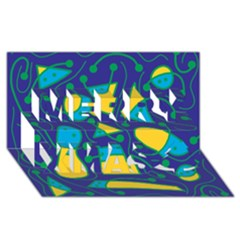 Playful abstract art - blue and yellow Merry Xmas 3D Greeting Card (8x4)