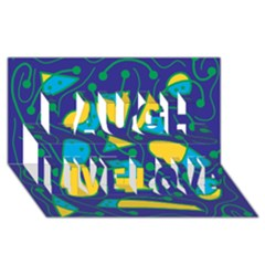 Playful abstract art - blue and yellow Laugh Live Love 3D Greeting Card (8x4)