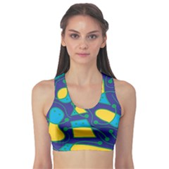 Playful abstract art - blue and yellow Sports Bra