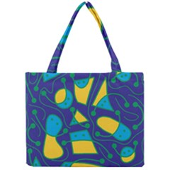 Playful abstract art - blue and yellow Mini Tote Bag