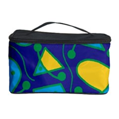 Playful abstract art - blue and yellow Cosmetic Storage Case