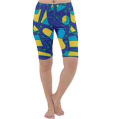 Playful abstract art - blue and yellow Cropped Leggings