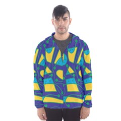 Playful abstract art - blue and yellow Hooded Wind Breaker (Men)