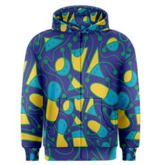 Playful abstract art - blue and yellow Men s Zipper Hoodie