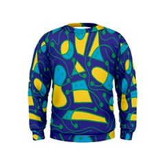 Playful abstract art - blue and yellow Kids  Sweatshirt