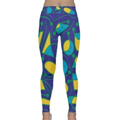Playful abstract art - blue and yellow Yoga Leggings