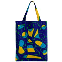 Playful abstract art - blue and yellow Zipper Classic Tote Bag