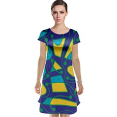Playful abstract art - blue and yellow Cap Sleeve Nightdress