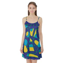 Playful abstract art - blue and yellow Satin Night Slip