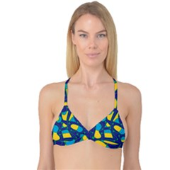 Playful abstract art - blue and yellow Reversible Tri Bikini Top